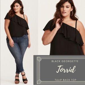 NWOT Torrid Black Georgette One Shoulder Top 0X